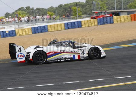 Le Mans, France, July 9, 2016 : Peugeot 905 During Le Mans Classic On The Circuit Of The 24 Hours. N