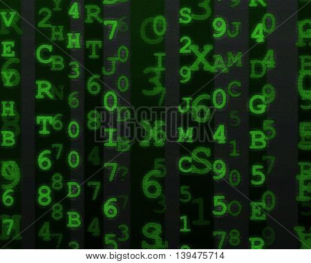 Green letters and numbers grungy alphanumeric data background