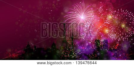 Travel The World, Festival, Fireworks new year on the earth concept