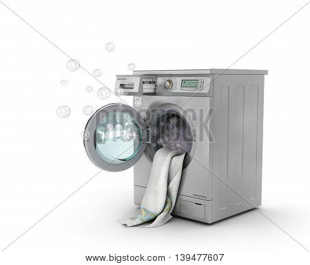 Concept of washing. The white towel lies in open washing machine with splashes foam and bubbles. 3d illustration