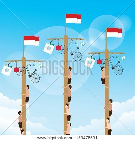 climbing game with hanging prize at the top Indonesian celebrate independence day vector