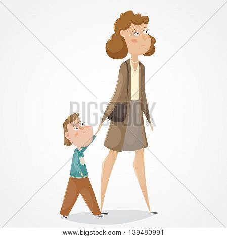 Mother and son walking and holding hands. Funny cartoon characters. Vector illustration