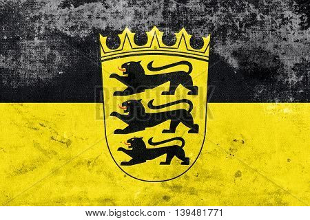 Flag Of Baden-wurttemberg With Coat Of Arms, Germany, With A Vin