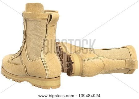 Military boots with bootlace army gear. 3D graphic