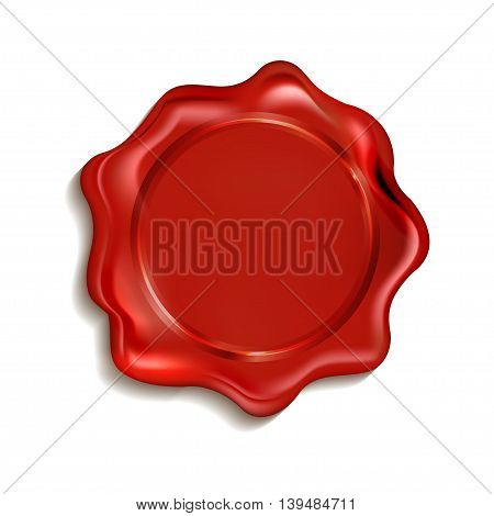 Red wax seal isolated on a white background