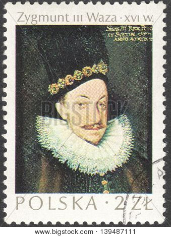 MOSCOW RUSSIA - CIRCA FEBRUARY 2016: a post stamp printed in POLAND showsa portrait of King Zygmunt III Waza the series