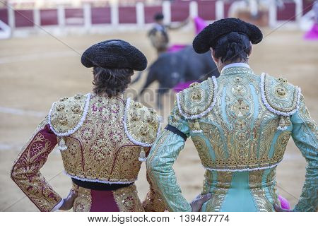 Ubeda SPAIN - september 29 2010: Spanish Bullfighters looking bullfighting the Bullfighter on the left dressed in suit of lights of colors red and gold and the right color pistachio and gold in Ubeda Spain