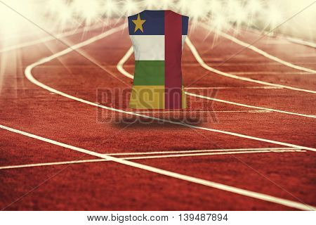 Red Running Track With Lines And Central Africa Rep Flag On Shirt
