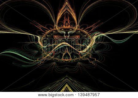 abstract background for futuristic high tech design. Fractal rendering of colorful lines and curves.