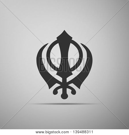 Khanda Sikh icon on grey background. Adobe illustrator