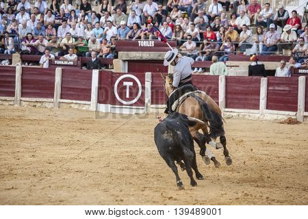 Ubeda SPAIN- October 2 2010: Spanish bullfighter on horseback Leonardo Hernandez bullfighting in Ubeda Andalusia Spain