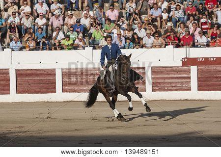 Linares SPAIN- august 31 2011: Spanish bullfighter on horseback Pablo Hermoso de Mendoza bullfighting on horseback in Linares Spain