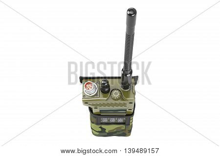 Military portable radio station in cover, top view. 3D graphic