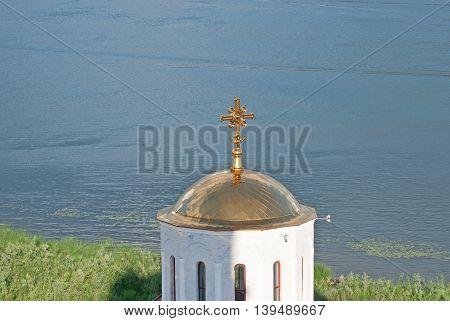 Beautiful View Svyato-Bogorodicky monastery and Volga river Russia