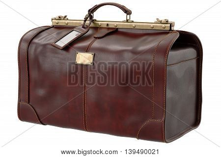 Travel bag brown leather retro style. 3D graphic
