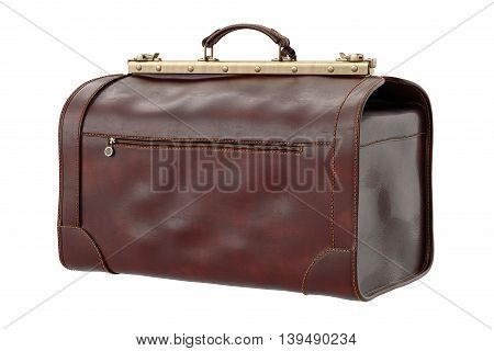 Travel suitcase luggage with metal zip, bag. 3D graphic