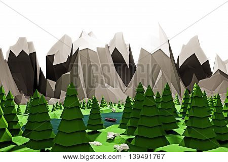 3d illustration of a simple landscape with mointains low poly