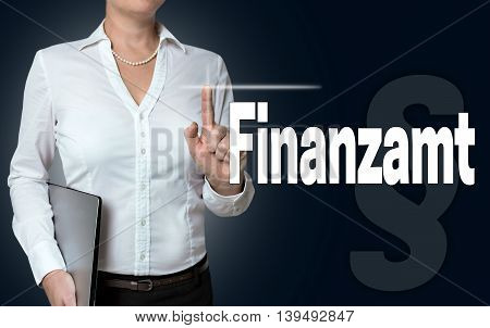 Finanzamt (in german tax office) touchscreen is operated by businesswoman.