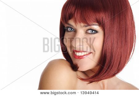 beauty red hair close-up face portrait