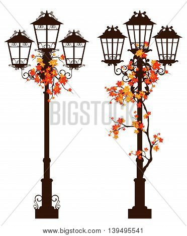 streetlight among autumn foliage - fall season vector design set