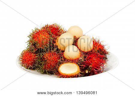 Fresh rambutan with rambutan stag , fruit has a sweet taste