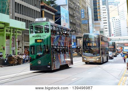 HONG KONG - NOV 9: Hong Kong double deck tram #118 on Des Voeux Road Central near Pottinger Street on Nov 9, 2015 in Hong Kong Island, Hong Kong. Hong Kong Tramways have over 110 years history.