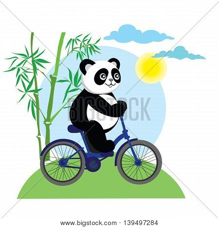 Funny panda bear on bike. Cartoon panda with bike in forest. Cute little panda bear rides his bike.