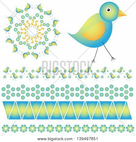 Graphic collection with colorful birds and abstract shapes