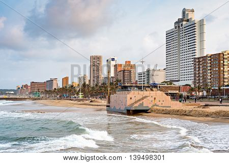 DURBAN SOUTH AFRICA - AUGUST 17 2015: The Golden Mile promenade from the pier at North Beach