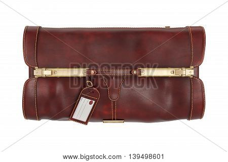 Travel brown leather gripsack on lock, bag, top view. 3D graphic
