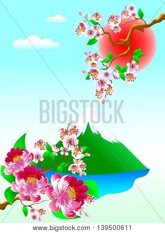 Mount Fuji flowers and blooming sakura.Landshaft with cherry blossoms and Mount Fuji.