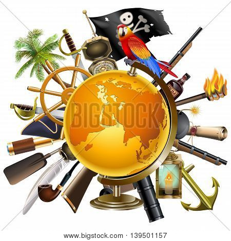 Vector Pirate Globe Concept isolated on white background