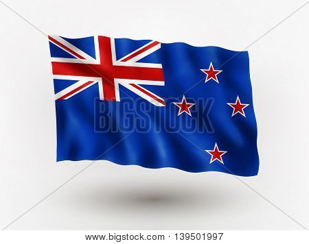 Illustration of waving flag of New Zeland isolated flag icon EPS 10 contains transparency.