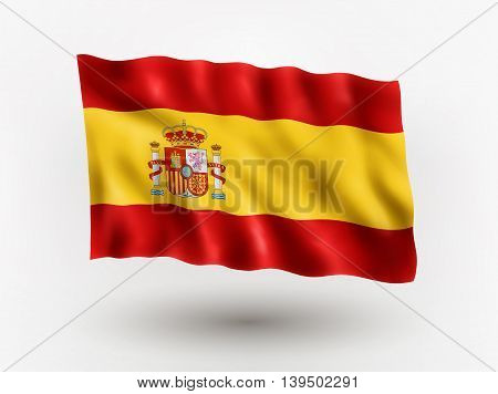 Illustration of waving flag of Spain isolated flag icon EPS 10 contains transparency.