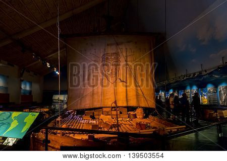 OSLO, NORWAY - JULY 1, 2016: It's copy of the raft Ton-Tiki on which Thor Heyerdahl made a transpacific crossing.