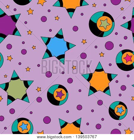colorful stars and dots over pink background - seamless tiling texture