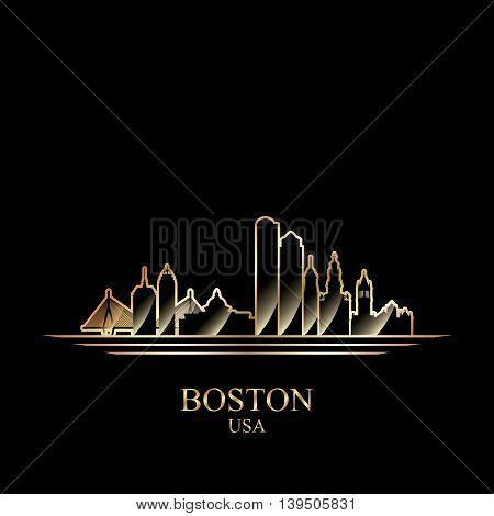 Gold silhouette of Boston on black background vector illustration