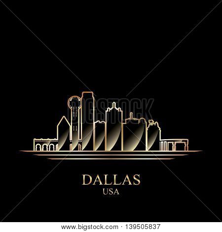 Gold silhouette of Dallas on black background vector illustration