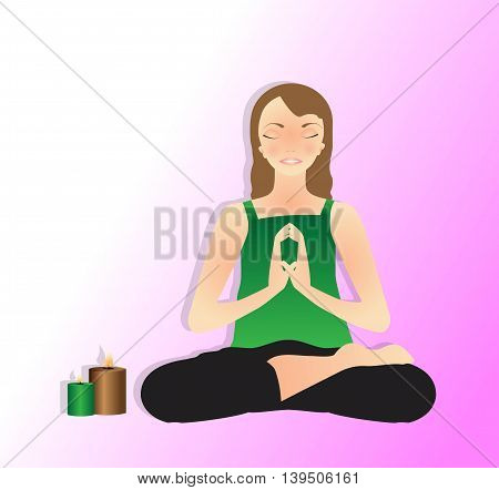 Vector illustration of beautiful young woman practicing yoga, meditating in Lotus Pose