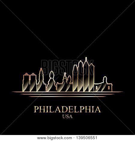 Gold silhouette of Philadelphia on black background vector illustration