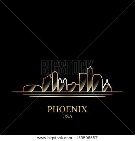 Gold silhouette of Phoenix on black background vector illustration