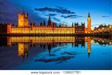 High dynamic range HDR Big Ben and Houses of Parliament (Westminster Palace) in London reflected in River Thames at night poster