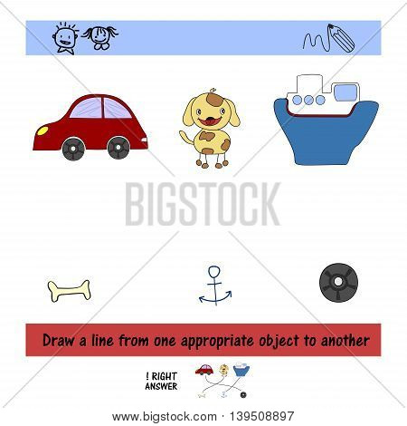 Homework for kids How to draw a line between the objects. Preschool education.