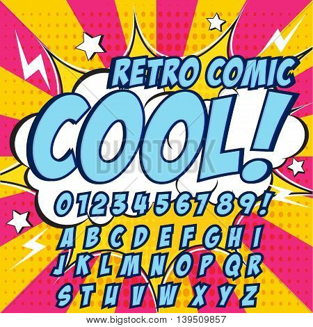 Creative high detail comic font. Blue color hero style of comics, pop art. Letters and figures for decoration of kids