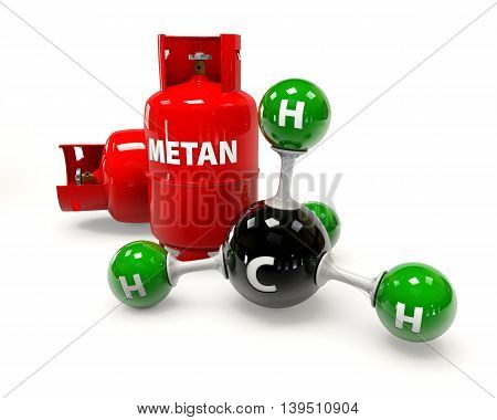3D illustration molecule of Gas Methane on a white background
