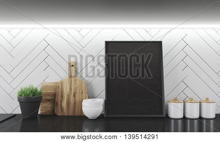 Kitchen counter with cutting board bowls potted plant and jars. Big framed picture in center. Concept of home dinner cooking. 3d rendering. Close up. Mock up.