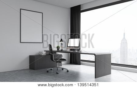 Office Room With Big Window And Poster On Wall