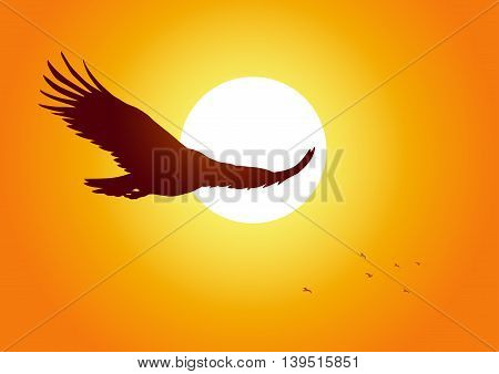 Silhouette illustration of an eagle soaring on sunset