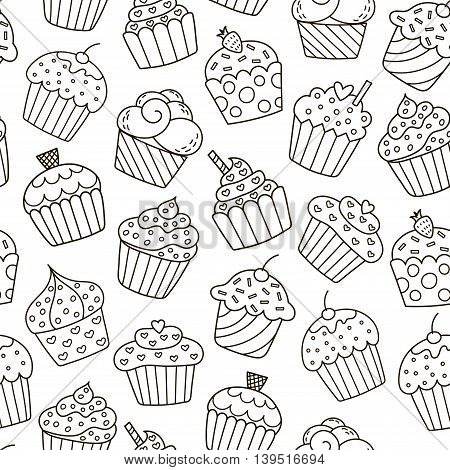 Monochrome cupcakes seamless pattern. Black and white sweet background. Great for coloring book, wrapping, printing, fabric and textile. Vector illustration