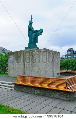 Statue Of Ingolfr Arnarson, In Reykjavik